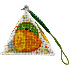 B137 Екзотичні фрукти. Брелок пірамідка. Biscornu. Набір для вишивання нитками
