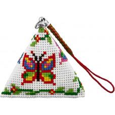 B142 Метелики. Брелок пірамідка. Biscornu. Набір для вишивання нитками