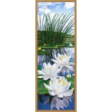 Бис1308 Белые лилии. Схема на ткани для вышивания бисером. Нова Слобода(Снят с производства)