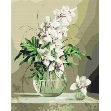 BS21177 Орхидеи в вазе. Brushme. Картина по номерам