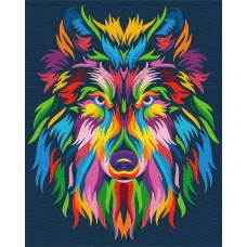 BS23828 Радужный волк. Brushme. Картина по номерам