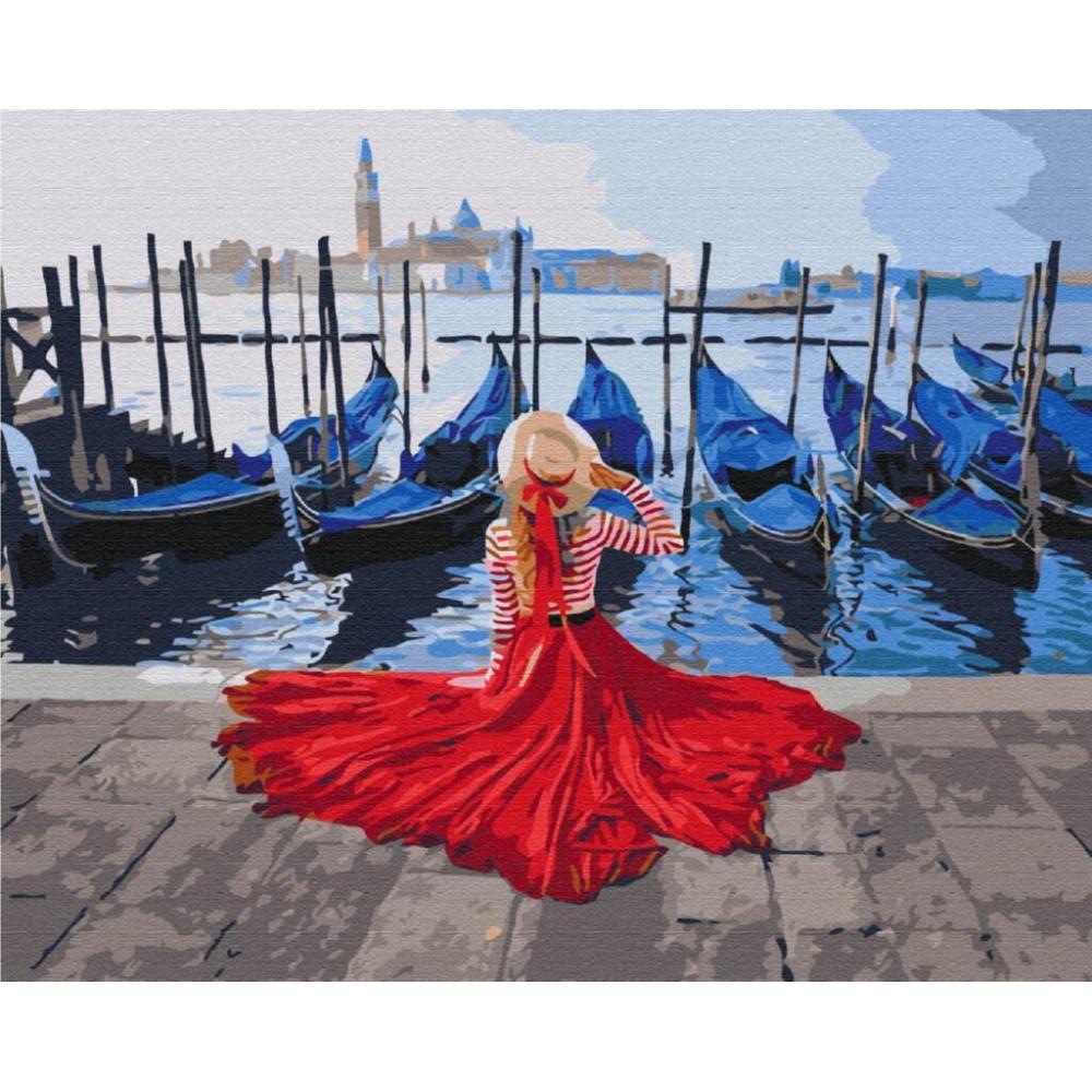 BS24895 Дівчина біля причалу Венеції. Brushme. Картина за номерами