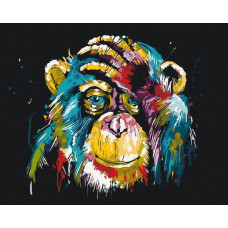 BS25714 Красочное шимпанзе. Brushme. Картина по номерам