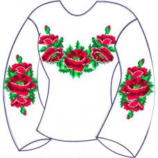 БЖ-001Да Сорочка для дівчинки, 6-12 років (атлас-коттон). Rainbow beads. Заготовка для вишивки нитками або бісером