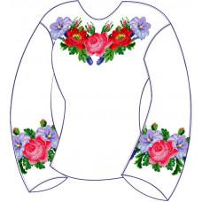 БЖ-003Да Сорочка для дівчинки, 6-12 років (атлас-коттон). Rainbow beads. Заготовка для вишивки нитками або бісером