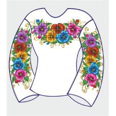 БЖ-005Дг Сорочка для дівчинки, 6-12 років (габардин). Rainbow beads. Заготовка для вишивки нитками або бісером