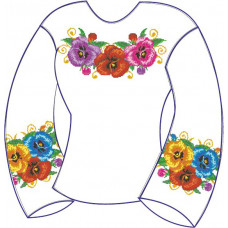 БЖ-006Дг Сорочка для дівчинки, 6-12 років (габардин). Rainbow beads. Заготовка для вишивки нитками або бісером