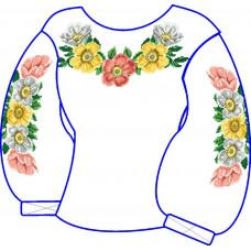 БЖ-034Да Сорочка для дівчинки, 6-12 років (атлас-коттон). Rainbow beads. Заготовка для вишивки нитками або бісером