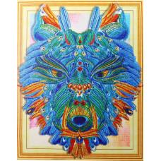 HZ001 Різнобарвний вовк. DA. Набір алмазної мозаїки (стрази)