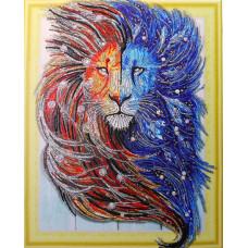 HZ002 Різнобарвний лев. DA. Набір алмазної мозаїки (стрази)