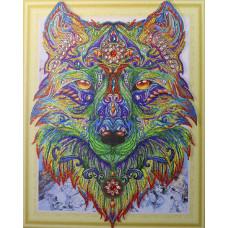 HZ005 Різнобарвний вовк 2. DA. Набір алмазної мозаїки (стрази)