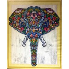 HZ015 Білий слон. DA. Набір алмазної мозаїки (стрази)