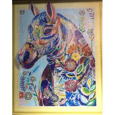 HZ019 Різнобарвний кінь. DA. Набір алмазної мозаїки (стрази)