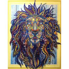 HZ023 Різнобарвний лев 2. DA. Набір алмазної мозаїки (стрази)