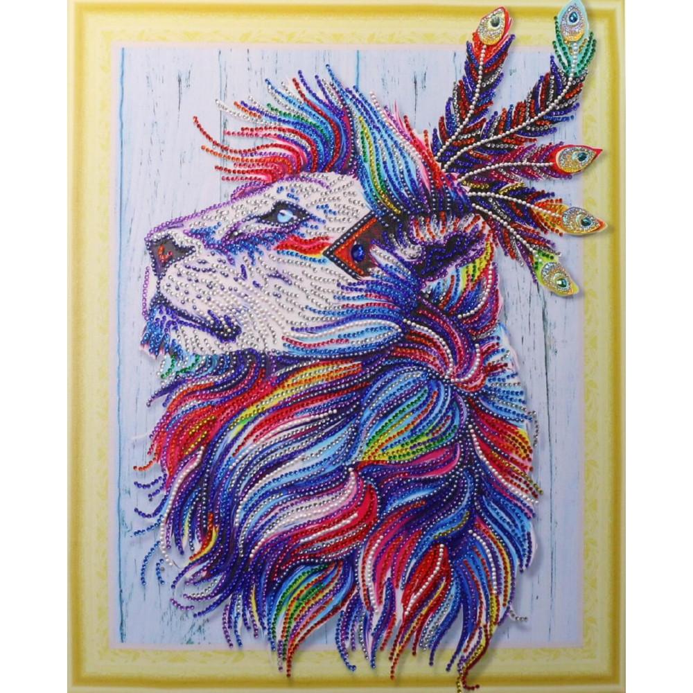 HZ027 Різнобарвний лев 3. DA. Набір алмазної мозаїки (стрази)