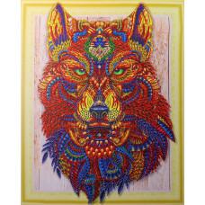 HZ029 Різнобарвний вовк 3. DA. Набір алмазної мозаїки (стрази)