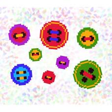 K101 Пуговички (10х15 см). Confetti. Водорастворимый флизелин с рисунком