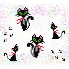 K104 Кошки (10х15 см). Confetti. Водорастворимый флизелин с рисунком