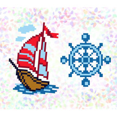 K108 Морское приключение (10х15 см). Confetti. Водорастворимый флизелин с рисунком