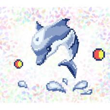K110 Дельфин (10х15 см). Confetti. Водорастворимый флизелин с рисунком
