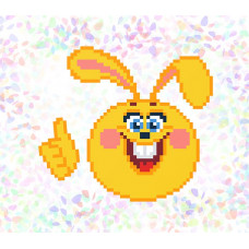 K112 Веселый заяц (10х15 см). Confetti. Водорастворимый флизелин с рисунком