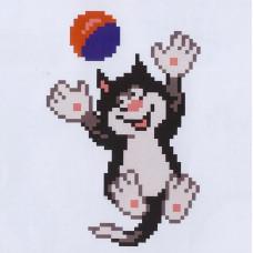 K114 Кот с мячом (10х15 см). Confetti. Водорастворимый флизелин с рисунком