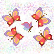 K121 Бабочки (10х15 см). Confetti. Водорастворимый флизелин с рисунком