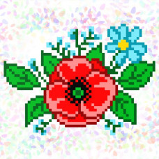 K126 Полевые цветы (10х15 см). Confetti. Водорастворимый флизелин с рисунком