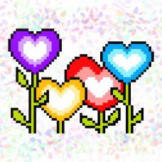 K128 Сад любви (10х15 см). Confetti. Водорастворимый флизелин с рисунком
