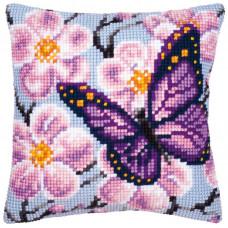 PN-0008501 Фіолетова метелик. Подушка. Vervaco. Набір для вишивки хрестом