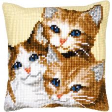 PN-0008506 3 Kitties (Кошенята). Подушка. Vervaco. Набір для вишивання нерахунковим хрестом