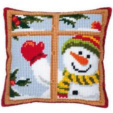 PN-0008519 Веселий сніговик. Подушка. Набір для вишивки нитками. Vervaco