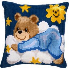 PN-0008573 Ведмедик в блакитному на хмарі. Подушка. Vervaco. Набір для вишивки хрестом