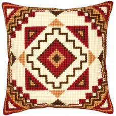 PN-0008583 Червоно-жовтий орнамент (Візерунок Трикутники). Подушка. Vervaco. Набір для вишивки хрестом