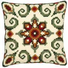 PN-0008595 Коричнево-зелений орнамент. Подушка. Vervaco. Набір для вишивки хрестом