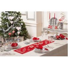PN-0012919 Сніжинки на червоному. Доріжка на стіл. Vervaco. Набір для вишивки гладдю