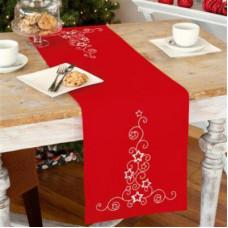 PN-0012926 Зірки на червоному. Доріжка на стіл. Vervaco. Набір для вишивки гладдю