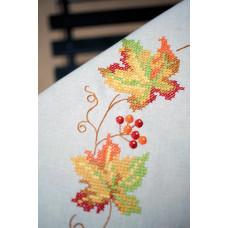 PN-0013291 Autumn leaves (Осінні листя). Серветка. Vervaco. Набір для вишивання нитками