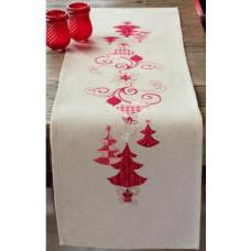 PN-0144712 Червоні різдвяні прикраси. Доріжка на стіл. Набір для вишивки нитками. Vervaco