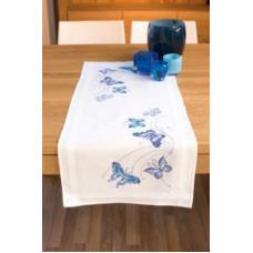 PN-0145089 Блакитні метелики. Доріжка на стіл. Vervaco. Набір для вишивки хрестом