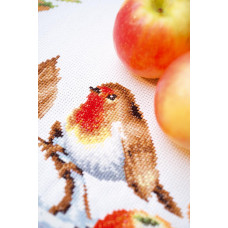 PN-0146877 Robin redbreast with apples. Серветка. Vervaco. Набір для вишивання нитками
