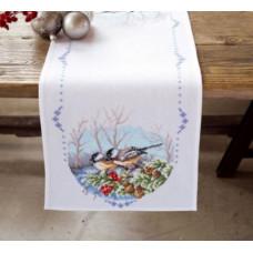 PN-0147606 Синиці на гілці. Доріжка на стіл. Набір для вишивки нитками. Vervaco