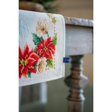 PN-0155487 Christmas flowers. Серветка. Vervaco. Набір для вишивання нитками