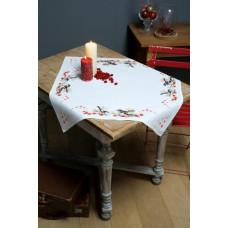 PN-0164896 Синички і червоні ягоди. Скатертина. Vervaco. Набір для вишивки хрестом