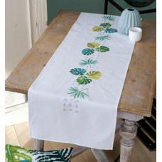PN-0165756 Зелене листя. Доріжка на стіл. Набір для вишивки нитками. Vervaco