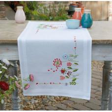 PN-0171004 Квіти. Доріжка на стіл. Vervaco. Набір для вишивки гладдю