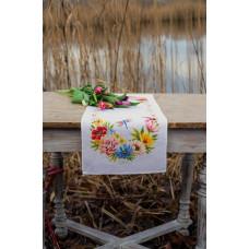 PN-0183727 Colourful flowers (Барвисті квіти). Серветка. Vervaco. Набір для вишивання нитками