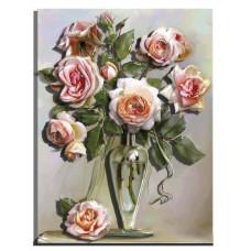 РТ150152 Букет троянд у вазі. Папертоль. Картина з паперу
