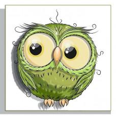РТ150155 Совушка зелена. Папертоль. Картина з паперу