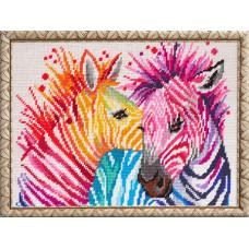 TL45 Зебры. Quick Tapestry. Набор для вышивания нитками на канве с нанесенным рисунком